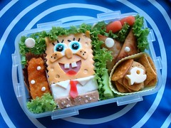 Who lives in a pineapple under the sea? (LoveBones) Tags: fish chicken cheese toddler bubbles bento carrots crackers spongebobsquarepants mortadella lattuce