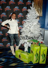 ashanti chilling by a some presents