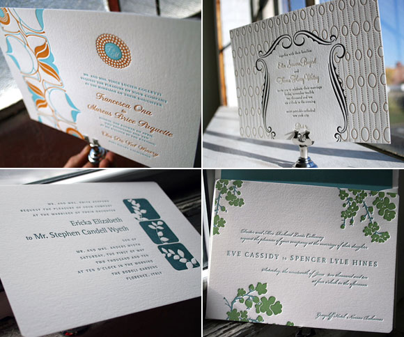 New 2009 letterpress wedding invitations - horizontal! - Bella Figura