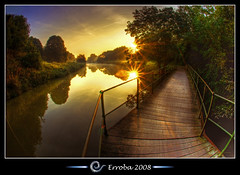 Sunrise @ Dijle, Mechelen, Belgium :: HDR (Erroba) Tags: trees mist photoshop sunrise canon river rebel wooden belgium belgique path tripod belgi sigma fisheye tips remote erlend railings hdr mechelen cs3 10mm dijle 3xp photomatix tonemapped tonemapping woodenpath xti 400d roestenberg erroba robaye erlendrobaye