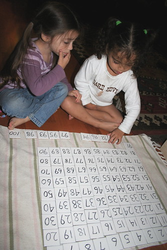 Shaye and Naia figuring out the hundred board together