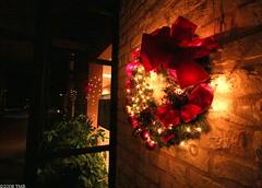 Wreath (tina2000tx) Tags: usa brick night digital texas canon20d wideangle wreath dslr fredericksburg 10mm canonefs1022mmf3545usm femalephotographers efs1022 ladyphotographers tina2000tx tinarottman