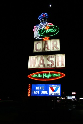 genie car wash sign and full moon