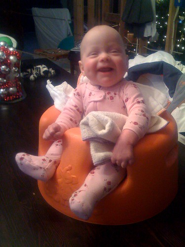 Happy Hallie in the Bumbo