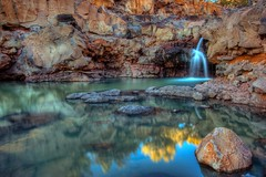 Waterfall....No Moss! (Larry Zimmer Photography) Tags: arizona water creek lava waterfall stream desert volcanic reflaction abigfave larryzimmer
