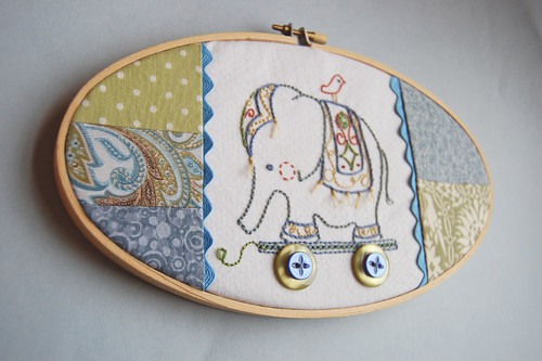 embroidered elephant pull toy