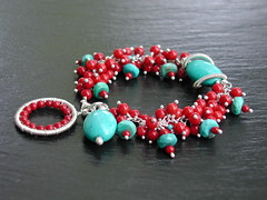 Coral Turquoise Bracelet (weirdlywired) Tags: coral silver circle beads wire handmade turquoise cluster jewelry bracelet handcrafted sterling coiled gemstones sterlingsilver wirewrapped