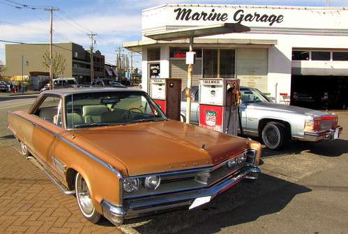 Marine Garage vintage 1957 Chrysler and gas pump good enough for movie productions set in the 1950s