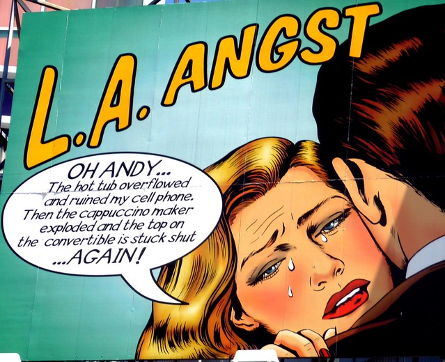 Comical LA Angst sign, Universal Studios walk, Los Angeles County, Southern California, United States of America