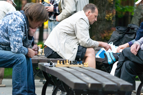 plaing chess in park