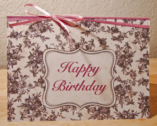 Happy Birthday Card to Niece (Black, Cream and Pink) - Front