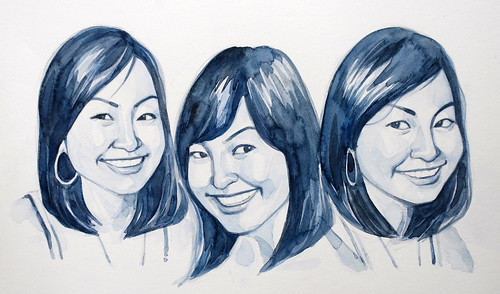 Portraits of a lady in watercolour - progress 2