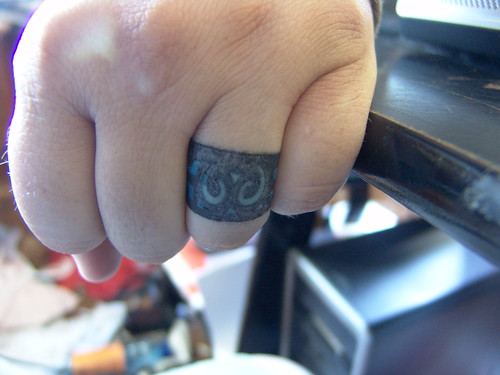 Another take on the wedding ring tattoo. The ideal way for a non-traditional