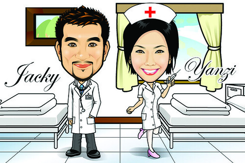 Q Digital Caricature Doctor & Nurse Theme Drawing