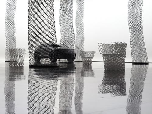 Elastic Diamond display and chair for Lexus by Nendo