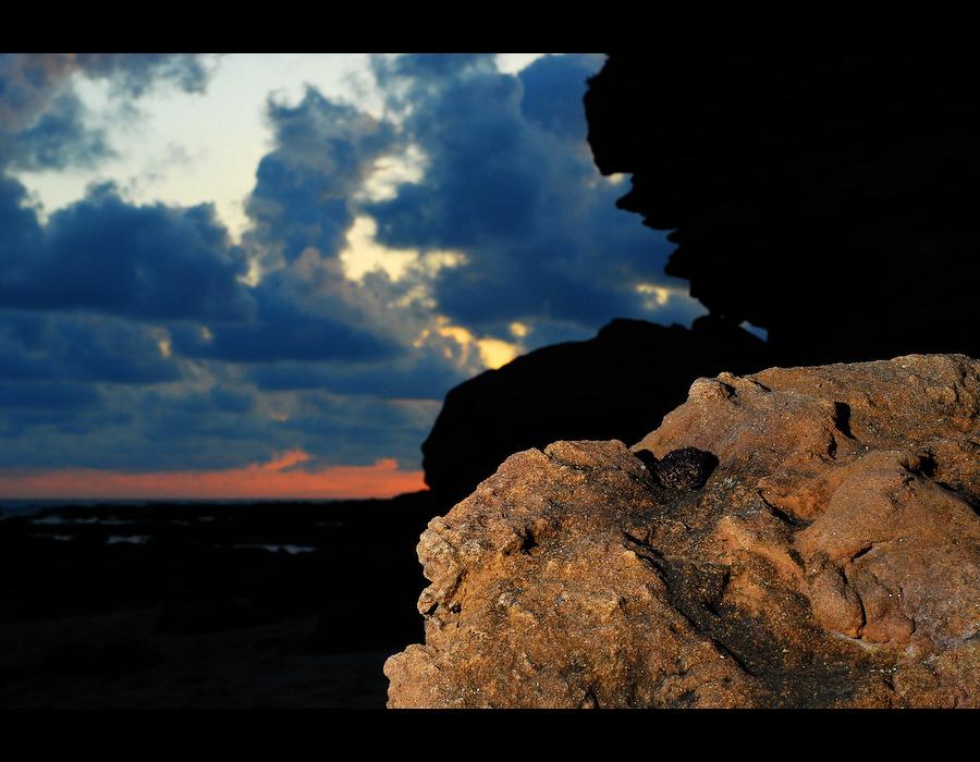 Rocks, sky, sunset, clouds, nuvens, céu, anoitecer, rochedos
