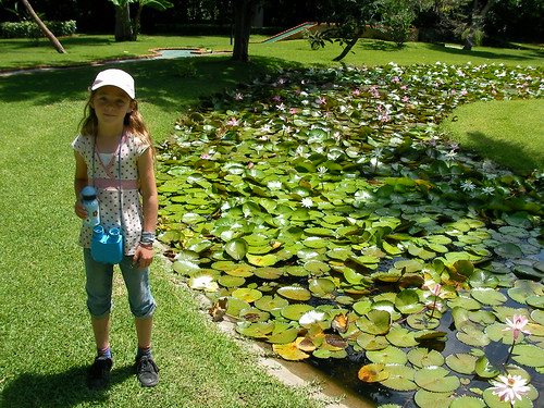 Ariel and the lotus garden at Las Estancas