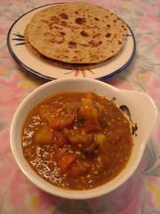 Alo Bhaigan sabji with Dal-puri