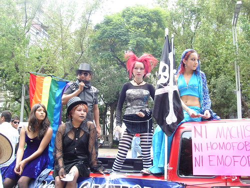 a group of emos protest machismo, homophobia, and emophobia at the marcha del orgullo in june 2008