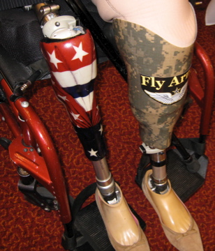 Her other leg is painted like Old Glory