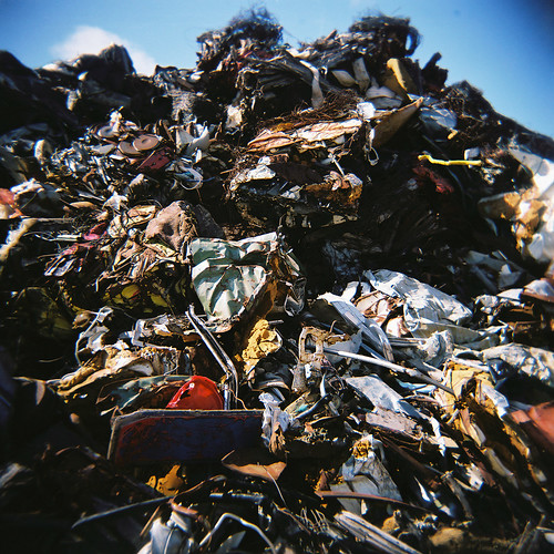 Scrap piled hile in Skagastrond, Iceland - their home of country music