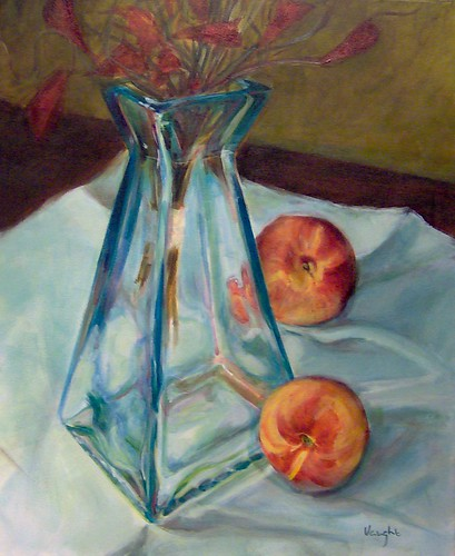 Blue Vase with Nectarines - SOLD