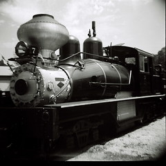 Diana visits a steam engine in Hesston, Indiana. (kevin dooley) Tags: camera bw favorite white black 120 film beautiful museum analog train wow lens toy interesting fantastic lomo lomography flickr pretty power very good gorgeous awesome engine award superior indiana super best steam plastic explore most diane winner stunning excellent medium format much incredible breathtaking exciting toycam phenomenal hesston