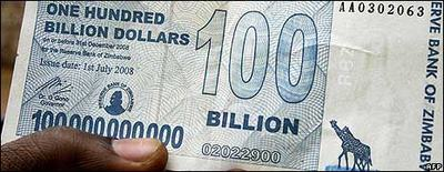 Zimbabwe one hundred billion dollar bill