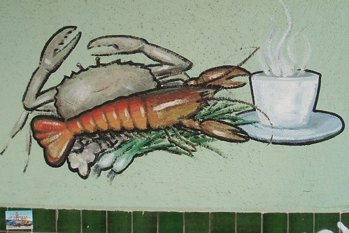 Lobster and Crab Enjoy a Cup of Coffee