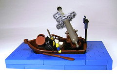 Paddle softly and carry a big gun (DARKspawn) Tags: lego pirates smoke cannon vignette diorama dinghy 6245 piratelego bignette harboursentry