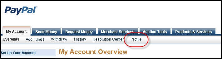 PayPal -> Profile Navigation Menu Screen Shot