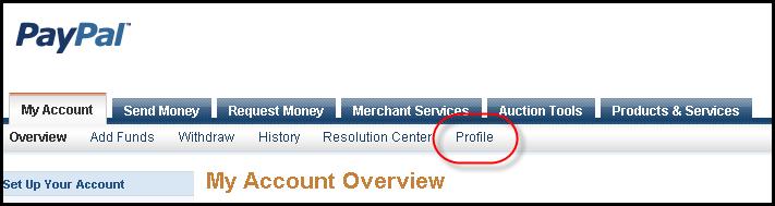 PayPal -> Profile Navigation Menu Screen Shot