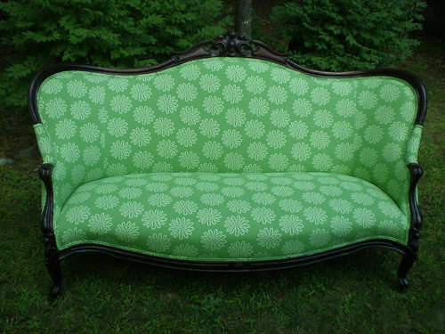 "sofa redo with ""flower power"""
