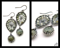 silver green garnet earrings