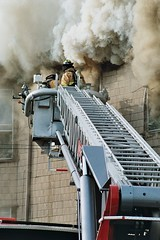 ATTACKING THE FIRE (MIKECNY) Tags: fire smoke firetruck ladder firefighter watervliet