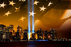 sep. 11 (Tony Shi Photos) Tags: world new york light usa tower freedom memorial downtown anniversary flag 911 attack terrorist ground patriotic center beam american collapse wtc tribute trade 7th zero recover  hijack rebuilt unitedwestand             thnhphnewyork