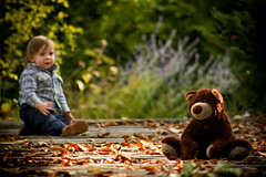 Best Friends (Lorie petglamour182) Tags: friends boy portrait baby cute fall beautiful smile leaves forest pose outdoors happy child teddy little sweet story precious tiny tender bestfriends nurseryrhyme abigfave