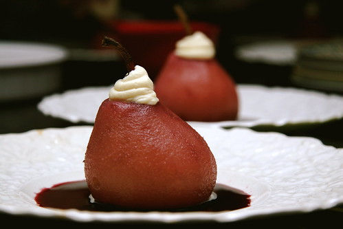 Red Wine Poached Pears with Marscapone Whip