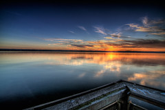 one minute ([Adam Baker]) Tags: autumn sunset lake newyork reflection clouds canon 405 boardwalk fingerlakes cayuga hdr blending birdcrap photomatix adambaker abigfave karmapotd tokina1116