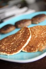 flapjacks and sausage (poopoorama) Tags: blue pancakes breakfast yummy nikon sausage sigma plate flapjacks d300 1850mmf28exmacrohsm