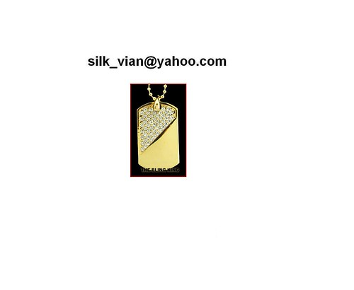 Gold plated diagonal dog tag bling hiphop gd7