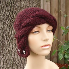 Chunky Cabled Cloche Hat in Claret with Rhinestone Buttons