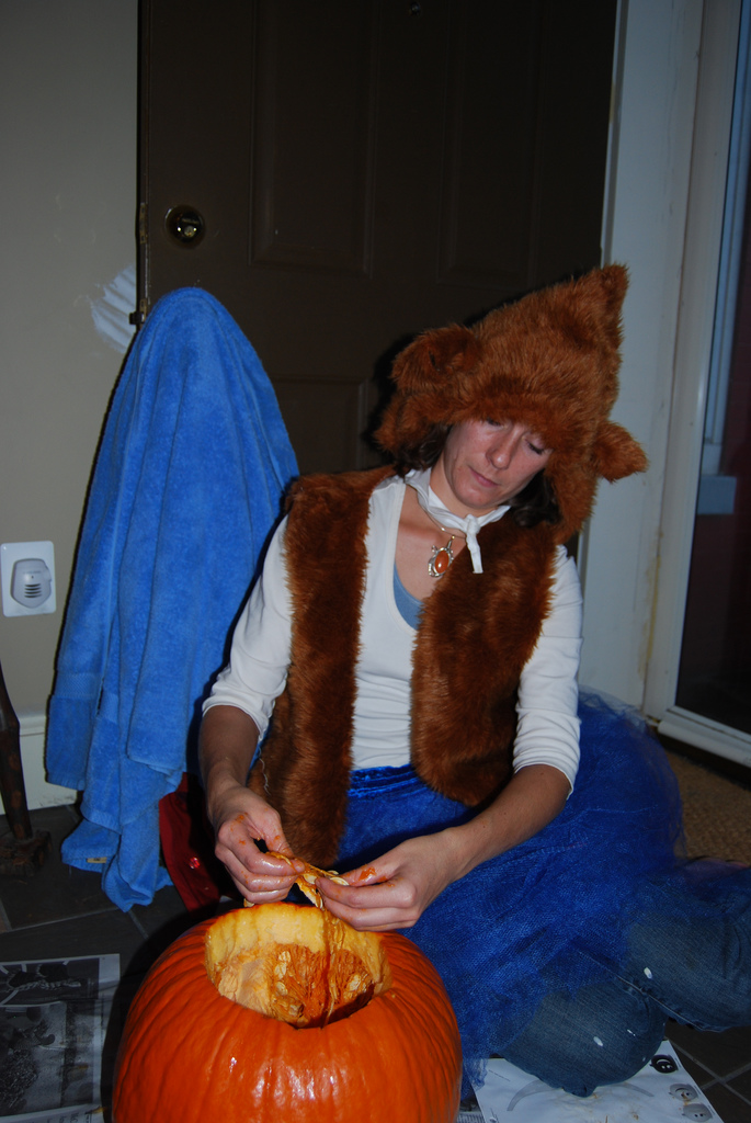 bear in tutu carving pumpkins