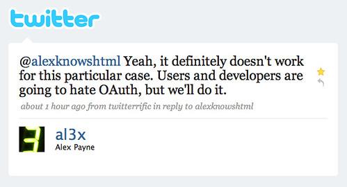 Twitter / Alex Payne: @alexknowshtml Yeah, it de ...