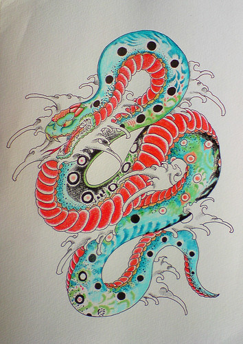 Snake, japanese tattoo flash by yoso tattoo.