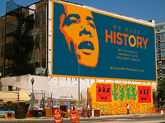 Billboard for Obama in NYC (hyperakt) Tags: history advertising election mural president politics victory billboard elections newhope obama barackobama barack politicalart deroy americanpolitics obamabarack election08 deroyperaza presidentelections disruptivemedia 2008democraticnationalconvention obamaposters obamaart obamaposter obamaprint thenewhope