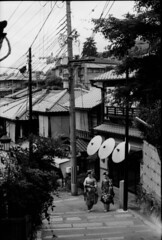 kyoto where ringo is from! ( RingoRockYay ) Tags: sf sanfrancisco blackandwhite bw japan canon kyoto maiko canonae1 kodac