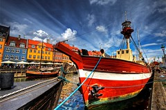 Nyhavn - Boat Roped Up For The Day (MrBall) Tags: color reflection water digital port canon copenhagen river denmark rebel nyhavn harbor boat interestingness wideangle scandinavia danmark hdr canonefs1022mmf3545usm xti aplusphoto colourartaward