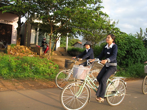 Bicycling girls