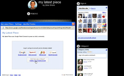 Click to enlarge: A Website Using Google Friend Connect